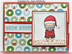 This card is made using the Surfin' Santa Stamp set and the City Sidewalks paper pack from the Close to My Heart Holiday catalog.