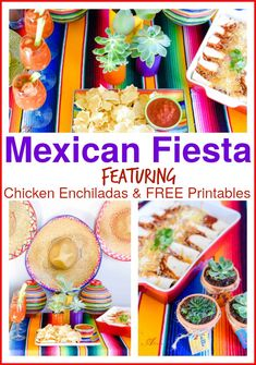 Welcome to a Mexican Fiesta! I've created a colorful tablescape and a fun centerpiece for a Mexican Fiesta. Chicken Enchiladas are the main event and I've added all my favorite Mexican dishes plus free printables. My Mexican Fiesta is a fun, vibrant party that's easy to host. #BordenCheeseLove #ad