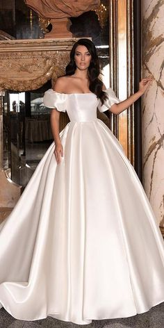 24 Awesome Ball Gown Wedding Dresses You Love ★ ball gown wedding dresses simple off the shoulder puff sleeves wona dresses ball gown fairytale 24 Awesome Ball Gown Wedding Dresses You Love Wedding Dress Trends, Wedding Dress Sleeves, Wedding Dresses Plus Size, Princess Wedding Dresses, Best Wedding Dresses, Wedding Attire, Gown Wedding, Bridal Dresses, Lace Wedding