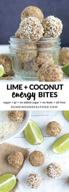 All you need is 4 whole food ingredients to make these delicious lime coconut energy bites. Enjoy them anytime for an all-natural energy boost! {gluten-free, vegan, oil-free, no added sugar, no bake} Protein Bites, Protein Snacks, Vegan Snacks, Healthy Energy Bites, No Bake Energy Bites, Diet Snacks, Whole Food Recipes, Snack Recipes, Cooking Recipes