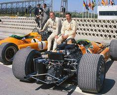 Denny Hulme and Bruce McLaren with their McLaren M7A's, Spanish Grand Prix 1968 (Jarama)
