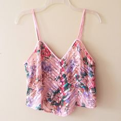 FLORAL PRINT CROP TOP Worn once! This is actually a sleep shirt but makes the most beautiful crop top- no one has to know that ;). Is semi sheer so I recommend a bandeau  **remember to bundle and save 10%** no holds/no trades/no modeling/no asking for lowest Victoria's Secret Tops Crop Tops