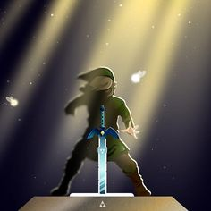 The Legend of Zelda art > Link and the Master Sword Legend Of Zelda Memes, The Legend Of Zelda, Legend Of Zelda Breath, Deco Gamer, Zelda Drawing, Ocarina Of Times, Master Sword, Nintendo, Vader Star Wars