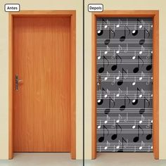 adesivo decorativo de porta - notas musicais - 233mlpt