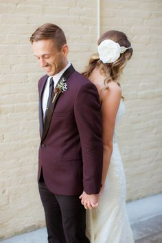 Grooms in handsome hues: http://www.stylemepretty.com/2015/01/01/top-wedding-trends-of-2014/
