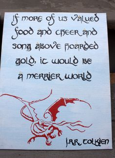 Tolkien Quote Canvas by PaintedRoseCanvas on Etsy If more of us valued food and…