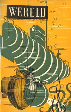 Submarine & Octopus - Wereld Cover by Wladimir Flem, 1954.