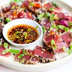 Discover recipes, home ideas, style inspiration and other ideas to try. Tuna Steak Recipes, Sushi Recipes, Asian Recipes, Cooking Recipes, Healthy Recipes, Fish Dishes, Seafood Dishes, Seafood Recipes, Appetizer Recipes
