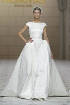 Pronovias has unveiled their sparkling new wedding gown collection - and we're in love! 2015 Wedding Dresses, Wedding Dress Styles, Wedding Attire, Bridal Dresses, Wedding Gowns, Ballroom Wedding, Backless Wedding, Tulle Wedding, Pronovias Dresses