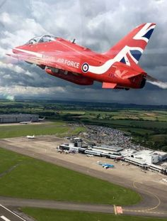 The Red Arrows above Cardiff Airport