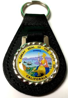 California State Seal Black Genuine Leather Key Fob Steel Ring FOB-0019