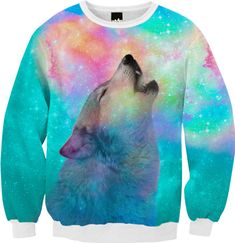 Dreamer of Dreams (Galaxy Wolf Howl Version 2) Unisex FALL Sweatshirt from Print All Over Me