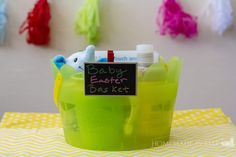 Baby Easter Basket Ideas - age appropriate things to put in an Easter basket for a baby, including touch and feel books, pacifiers and sippy cups