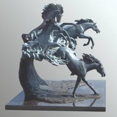 by J Anne Butler titled: 'Horse Power Bronze sculpture'. Horse Sculpture, Animal Sculptures, Bronze Sculpture, Horse Galloping, Horses And Dogs, Art For Art Sake, Horse Pictures, Horse Art, Dark Horse