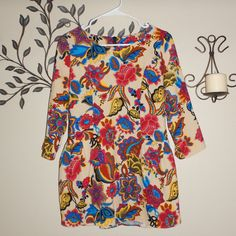 Womens Bold Color Floral 3/4 Sleeve Boho Festival Tunic Blouse Size Small #Unbranded #Blouse