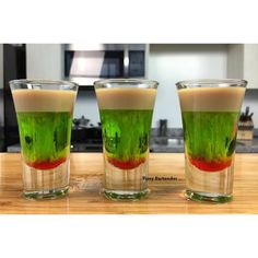 Feeling a little froggy tonight? Try our Falling Froggy Shot! Recipe? Click Here! http://www.tipsybartender.com/blog/falling-froggy-shot