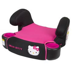 Seat your growing child comfortably and happily in the Baby Trend Hybrid No Back Booster Car Seat in Hello Kitty fashion Helps your big kid from ages 40-100 lbs. The Hello kitty fabric cushioned seat includes padded arm rest for extra comfort and two molded cup/snack holders.