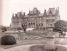 Eaton Hall, the Chesire pile of the Westminsters built originally in the early 18th century on land that had been in the Grosvenor family since the 15th century. The house shown here was demolished in the 1960s and replaced by a somewhat smaller French chateau style mansion.