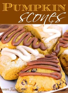 Pumpkin Scones - Here's another fun pumpkin recipe for fall.  You can make these pumpkin scones using the basic recipe and a cream cheese glaze or with chocolate chips inside and a chocolate cream cheese glaze on top. You can also just sprinkle a little powdered sugar over the top. Any way you do it, they will be delicious!