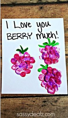 """""""I Love You Berry Much"""" Fingerprint Raspberry Card Idea for Kids to make! They could make this card for Mother's Day, Father's day, or even Valentines! Daycare Crafts, Baby Crafts, Crafts To Do, Crafts For Kids, Arts And Crafts, Children Crafts, Stick Crafts, Summer Crafts, Fathers Day Crafts"""