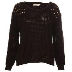 Hearts & Bows Black Lavender Studded Knit