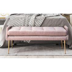 Blush Dusty Pink Velvet Bench Gold Legs