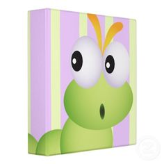 Cute Little Worm and Pastel Stripes Notebook Vinyl Binder