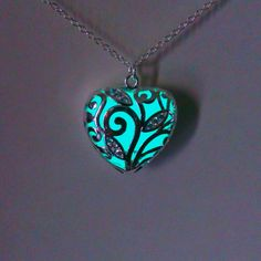 Aqua Glowing Necklace Glowing Jewelry  Glow in the Dark Heart Pendant Gift for Her (16.00 GBP) by BespokeInnaDesign
