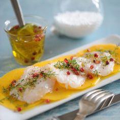 Carpaccio of mango bar - Seafood Appetizers, Appetizer Recipes, Healthy Cooking, Cooking Recipes, Healthy Recipes, Fish Recipes, Seafood Recipes, Chefs, Ceviche Recipe