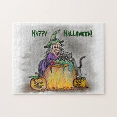 Witch and cat, Happy Halloween! Jigsaw Puzzle