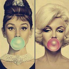 Marilyn Monroe y Audrey Hepburn mascan chicle ¡Pásalo! ~