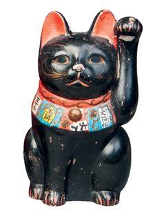 Maneki Neko - Painted Clay. Circa Mid-20th Century.