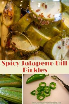 Canning Spicy Pickles, Spicy Pickle Recipes, Cucumber Relish Recipes, Dill Recipes, Jalapeno Recipes, Homemade Pickles, Canning Recipes, Freezer Pickles, Jalapeno Dill Pickle Recipe