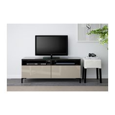 BESTÅ TV unit with drawers - black-brown/Selsviken high-gloss/beige, drawer runner, push-open - IKEA