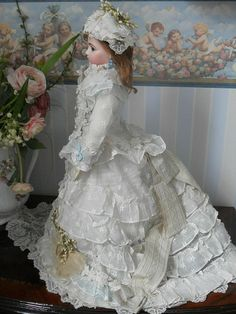 Antique French Fashion Doll Summer-Gown
