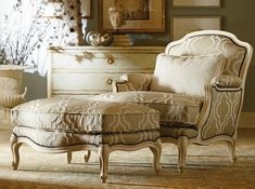 Century Furniture - I'd like to get a couple of these with the ottomans, but I don't know where to put them. They'll take up a lot of space.