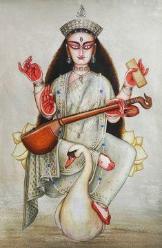 Saraswati Goddess, Indian Gods, Gods And Goddesses, Paintings, Beautiful, Paint, Painting Art, Painting, Painted Canvas