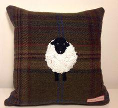 Blackface sheep appliqué tweed cushion