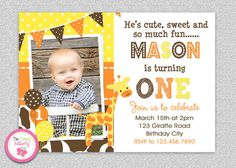 Giraffe Birthday Party Invitation #giraffe #yellow #orange #giraffeparty