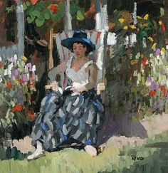 Sherree Valentine Daines, Woman reading in a garden Girl Reading Book, Reading Art, Woman Reading, Reading Books, Renoir, Female Images, Female Art, Edwin Austin Abbey, Blooming Trees