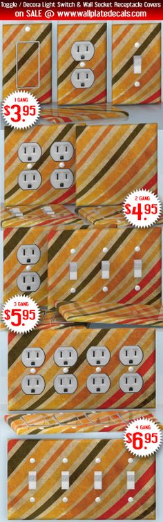 DIY Do It Yourself Home Decor - Easy to apply wall plate wraps | Curving Waves Yellow, green and red stripes wallplate skin stickers for single, double, triple and quadruple Toggle and Decora Light Switches, Wall Socket Duplex Receptacles, and blank decals without inside cuts for special outlets | On SALE now only $3.95 - $6.95