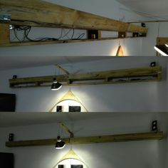 How to hide wires and make fill a empty wall. The light is mada out of a FIAT 126 front light and and a led lamp