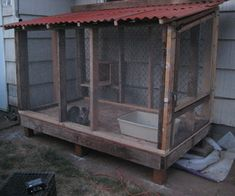 Cat Enclosure - Just finished one similar to this one along the side of the shed.  It's 4' w x 8' l & has an interior & exterior door for escape proof.  In the process of resucing 2 strays & a feral & needed a place to put them to teach them their new territory...