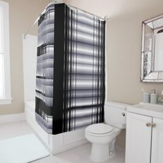 Black and Blue Pattern Shower Curtain