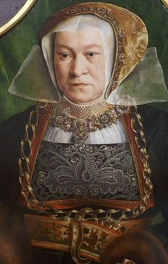 Portrait of Sibylla Kessel,Barthel Bruyn the Elder ( ca. 15401545), she's wearing a velvet brocade hat with goldwork trim, her highnecked chemise/parlet? is smocked with gold and white embroidery and I think edged in needlelace. her gown is black brocade with a red-orange trim that has gold embroidery on it. That bustfluck is covered in pearls, and it looks like her undersleeves are a sheer red fabric with gold edging. This is one fancy lady.