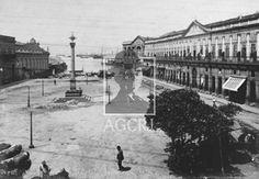 Largo da ImperatrizÉ possível identificar obras em torno do Largo e o prédio Docas de D. Pedro II