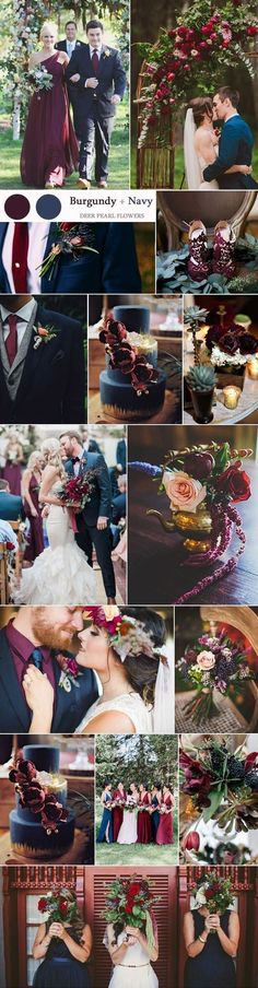 Navy and burgundy wedding color ideas / http://www.deerpearlflowers.com/top-8-burgundy-wedding-color-palettes-youll-love/