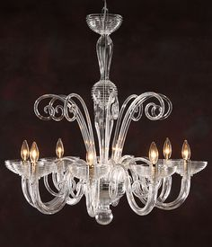 Murano glass chandelier; Eight-light hand-blown clear Venetian glass chandelier with chrome trim; Murano glass chandelier