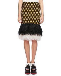 PROENZA SCHOULER Ostrich-Hem Check Skirt, Multi. #proenzaschouler #cloth #