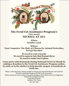 The Feral Cat Assistance Program's First Annual  NO BALL AT ALL  When: October 1-31st  Come party with thousands during National Feral Cat Month by making a donation to the Feral Cat Assistance Program online, by mail, or in the shelter to help provide surgery to hundreds of feral cats at cap4pets.org.   Please  make donations/checks payable to Citizens for Animal Protection and write the  Feral Cat Assistance Program (FCAP) in the memo line.